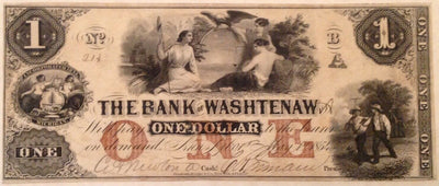 1854 $1 Bank of Washtenaw , Michigan - Uniface - Obsolete Currency -