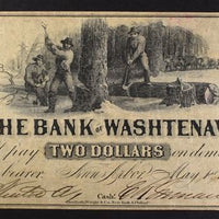 1854 $2 Bank of Washtenaw , Ann Arbor , Michigian - Obsolete Currency -