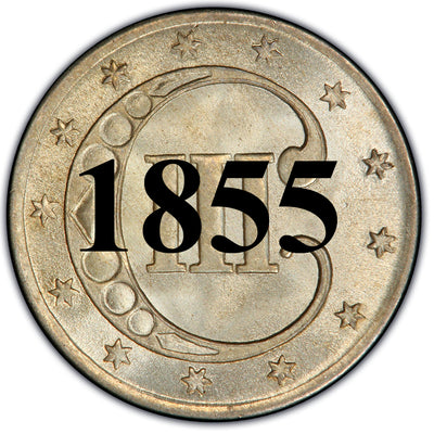 1855 Three Cent Silver Piece , Type 2