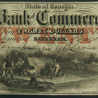 1855 $20 Bank of Commerce, Savannah Georgia - Obsolete Currency