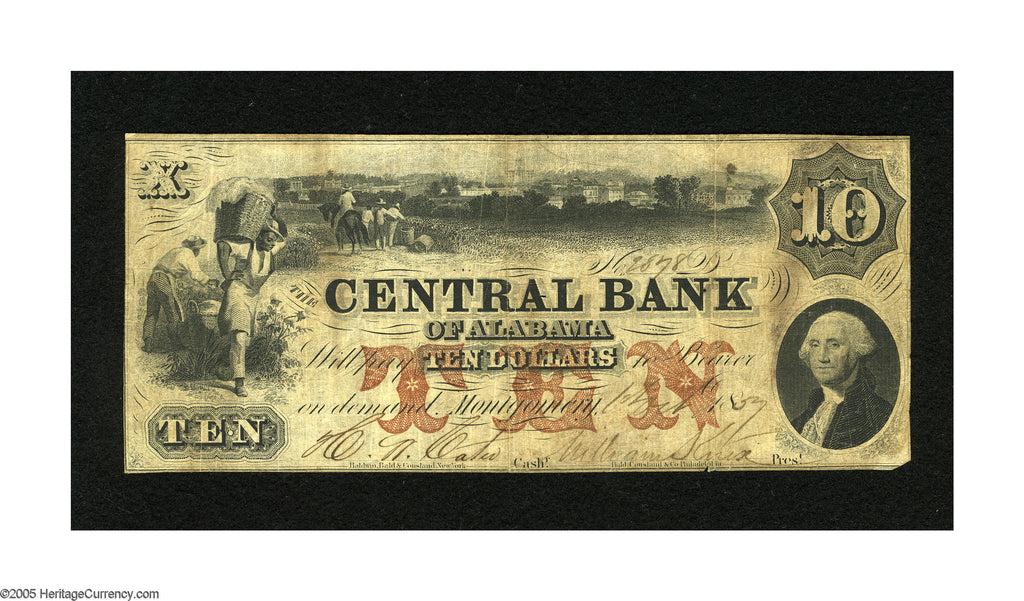1856 $10 Central Bank of Albama , Montgomery - Uniface - Obsolete Currency -