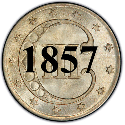 1857 Three Cent Silver Piece , Type 2