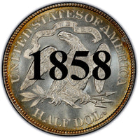 "1858 Seated Liberty Half Dollar , Type 1 ""Obverse Stars NO Motto"""