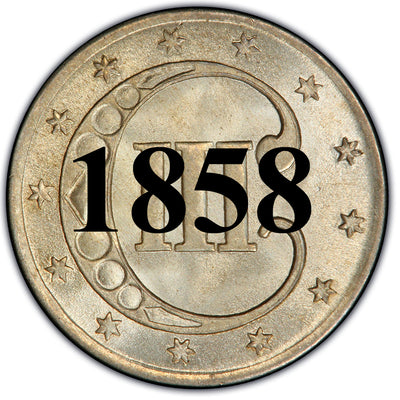 1858 Three Cent Silver Piece , Type 2