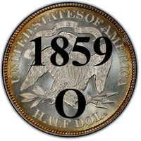 "1859-O Seated Liberty Half Dollar , Type 1 ""Obverse Stars NO Motto"""