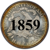 "1859 Seated Liberty Half Dollar , Type 1 ""Obverse Stars No Motto"""