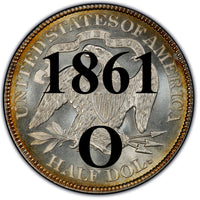 "1861-O Seated Liberty Half Dollar , Type 1 ""Obverse Stars NO Motto"""