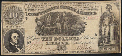 1861 $10 (T-30) Richmond, Virginia - Uniface - Confederate Currency -