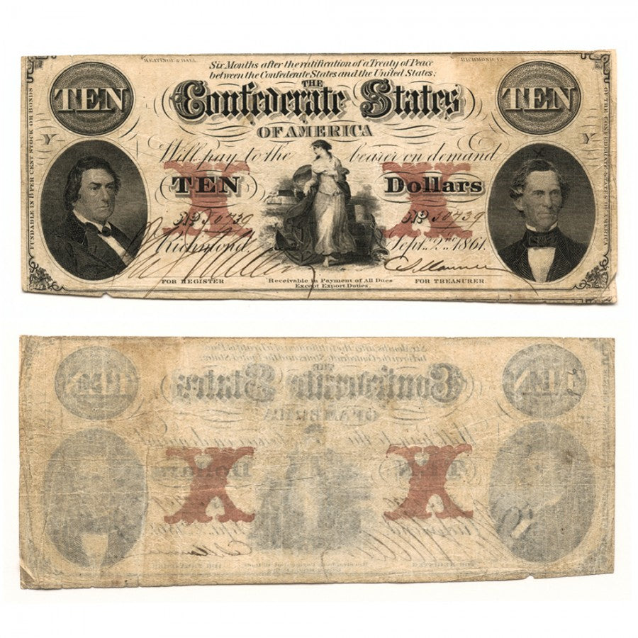 1861 $10 (T-26) Richmond, Virginia - Uniface - Cut Cancelled - Confederate Currency -