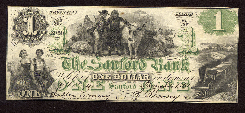 1861 $1 Sanford Bank , Maine - Uniface - Obsolete Currency -