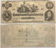 1862 $10 (T-46) Richmond, Virginia - Uniface - Confederate Currency -