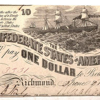 1863 $1 (T-44) Richmond, Virginia - Confederate Currency -