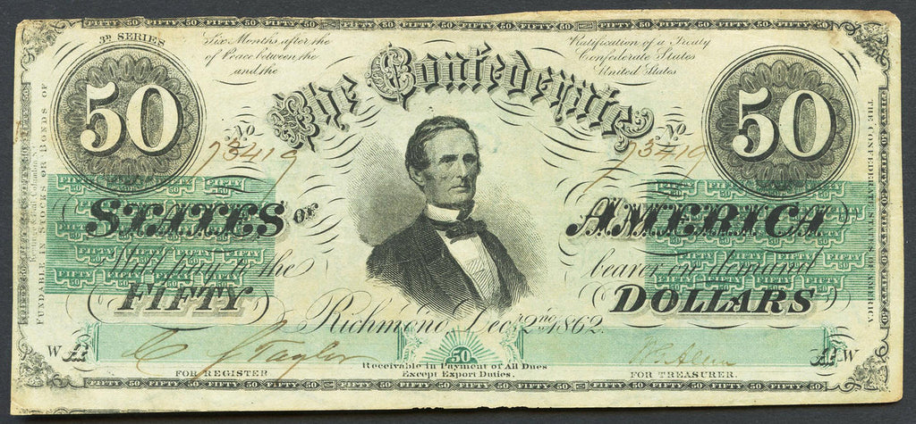 1863 $50 (T-57) Richmond, Virginia - Confederate Currency -