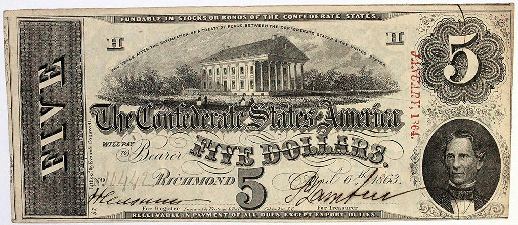 1863 $5 (T-60) Richmond, Virginia - Tan Paper - Blue ink reverse - Confederate Currency -