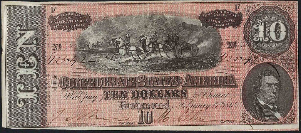 1864 $10 (T-68) Richmond, Virginia - Confederate Currency -