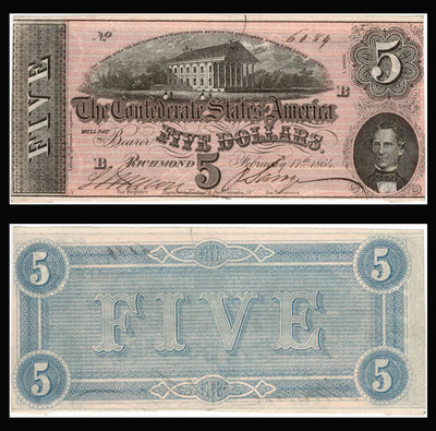 1864 $5 (T-69) Richmond, Virginia - Confederate Currency -
