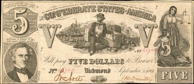1864 $5 (T-37) Richmond, Virginia - Uniface - Confederate Currency -