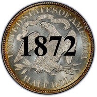 "1872 Seated Liberty Half Dollar , Type 4 ""With Motto"""
