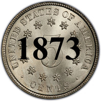 "1873 Shield Nickel ""Open 3"""