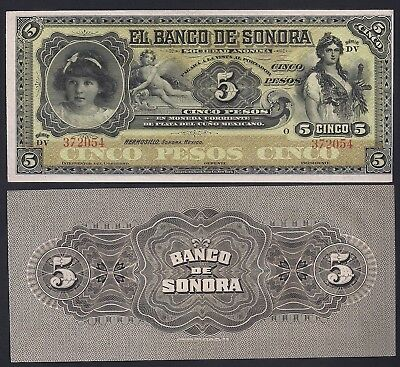 "(Circa 1911) Revolutionary Mexico Sonora 5 Peso ""Girl/ Maiden/Cherub""  Size: Large  ~ World Currency"