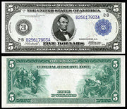 "1914 $5 ""Lincoln"" Blue Seal Federal Reserve Note"