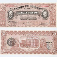 "1915 Mexico Revolution 20 Pesos ""Chihuahua/Revolution"" Size: Large    ~ World Currency"