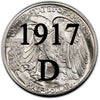 1917-D Reverse MM Walking Liberty Half Dollar