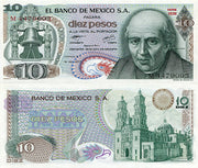 "1977 Mexico 10 Pesos ""Miguel Hidalgo & Cathedral"" Size: Standard  ~ World Currency"