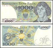 "1982 Poland 1000 Zlotych ""Copernicus"" World Currency , Uncirculated"