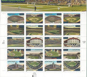 "2001 Legends of Baseball ""Legendary Fields"" Stamp Sheet"