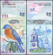 "2009 Bermuda $2 ""Bluebird & Clock Tower"" World Currency , Uncirculated"