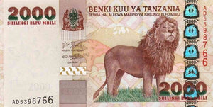 "2009 Tanzania 2000 Shillings ""Lion"" World Currency , Uncirculated"