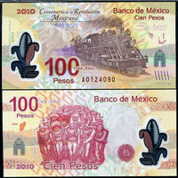 "2010 Mexico 100th Anniversary Of Revolution Commem. ""Locomotive/Soldiers"" Size: Stand. Polymer  ~ World Currency"