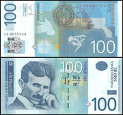 "2013 Serbia 100 Dinara ""Nikola Tesla"" World Currency , Uncirculated"