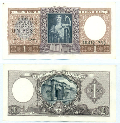 "1956 Argentina 1 Peso ""Lady Justice / National Bank"" World Currency, Uncirculated"