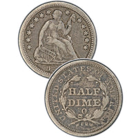 "1845 Seated Half Dime , Type 2 ""Stars on Obverse"""