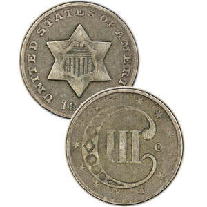 "1854 Three Cent Silver Piece , Type 2 ""3 Outlines of Star"""