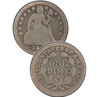 "1876-CC Seated Liberty Dime , Type 4 ""Obverse Legend"""
