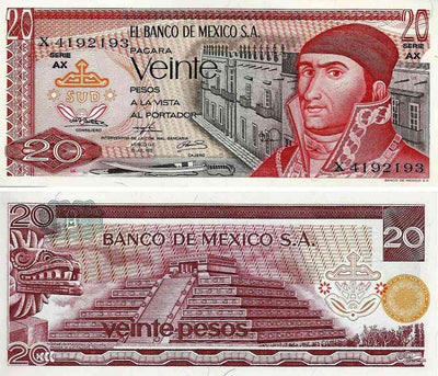 "1973-77 Mexico 20 Pesos ""Jose Maria Morales / Pyramid of Teotihuacan"" World Currency, Uncirculated"