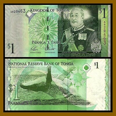 "2008 Tonga 1 Dollar  ""King Tupou VI /Whale"" World Currency, Uncirculated"