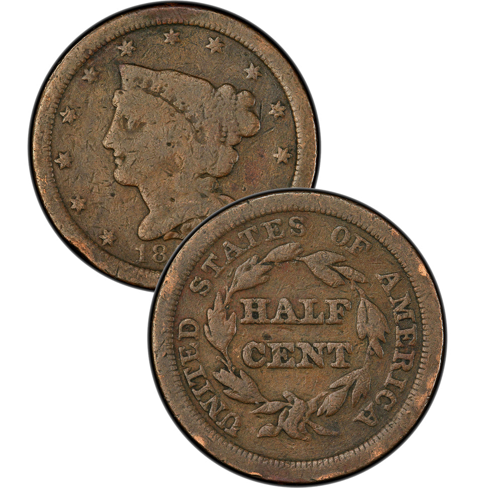 1854 Coronet Braided Hair Large Cent