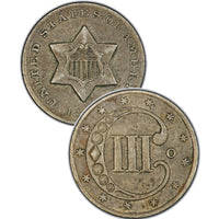 "1857 Three Cent Silver Piece , Type 2 ""3 Outlines of Star"""