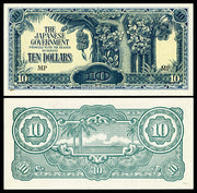"1944 Japanese Occupied Malaysia Ten Dollars ""Banana Tree"" World Currency, Almost Uncirculated"