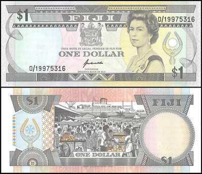 "1993 Fiji 1 Dollar ""Queen Eliz. II / Fruit Market""World Currency, Circulated"