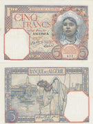 "1941-2 Algeria (Colonial) 5 Francs ""Girl/Woman with fruit basket""  World Currency, Fine"