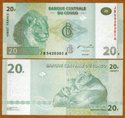 "2003 Congo 20 Francs ""Lion & Cubs""  World Currency, Uncirculated"