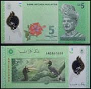 "2012 Malaysia 5 Ringgit - Polymer ""Rhino Hornbill Toucans"" World Currency, Uncirculated"