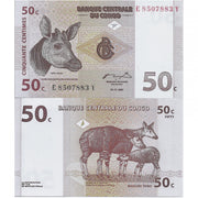 "1997 Congo 50 Centimes ""Okapis"" World Currency, Uncirculated"