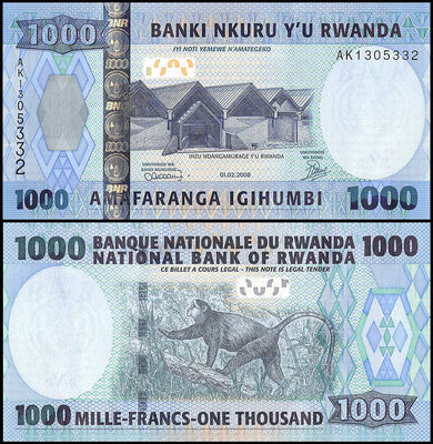 "2008 Rwanda 1000 Francs ""Monkey"" World Currency, Uncirculated"