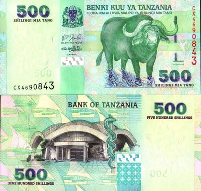 "2003 Tanzania 500 Shillings ""Cape Buffalo"" World Currency, Uncirculated"